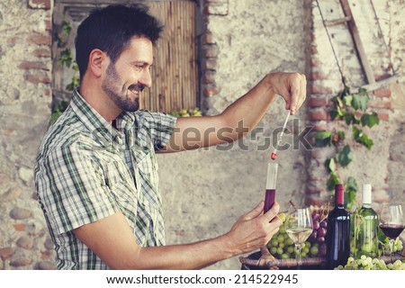 expert oenology measuring the percentage of sugar of the wine - stock photo