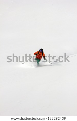 Expert skier with snow background. - stock photo