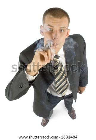 expert smoke cigar - stock photo