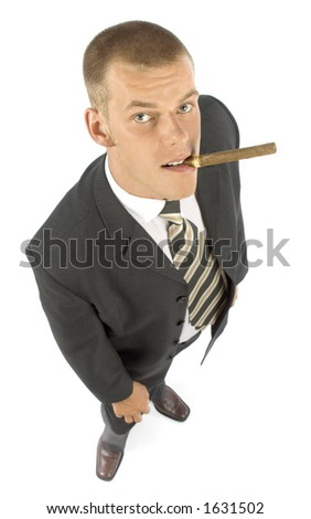expert with cigar - stock photo