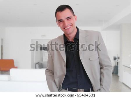 expertise  businessman posing interior white modern office - stock photo