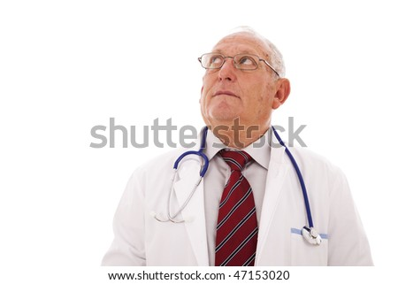 expertise doctor older man looking to the copy space