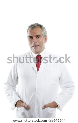 expertise doctor senior white gray hair smiling portrait looking camera - stock photo