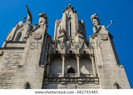 Expiatory Church of the Sacred Heart of Jesus (architect Enric Sagnier) on summit of Mount Tibidabo in Barcelona, Catalonia, Spain.