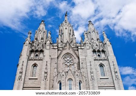 Expiatory Church of the Sacred Heart of Jesus  on summit of Mount Tibidabo in Barcelona, Spain.  - stock photo