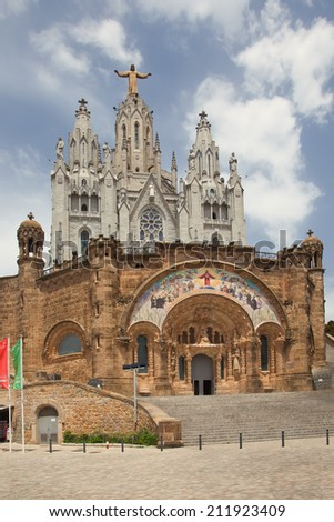 Expiatory Church of the Sacred Heart of Jesus (Temple Expiatori del Sagrat Cor) - Roman Catholic church and minor basilica located on the summit of Mount Tibidabo in Barcelona, Catalonia, Spain.  - stock photo