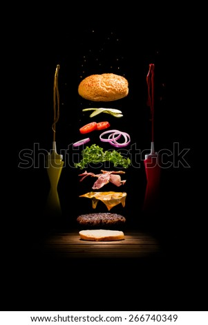 Exploded Hamburger - stock photo