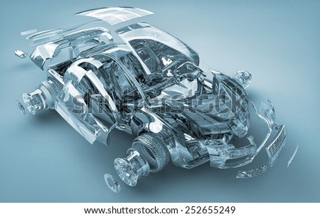 exploded transparent car - stock photo