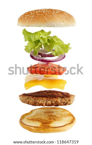 Exploded view of burger, isolated on white - stock photo