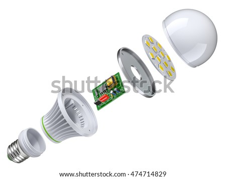 Exploded view of LED bulb isolated on white background - 3D illustration
