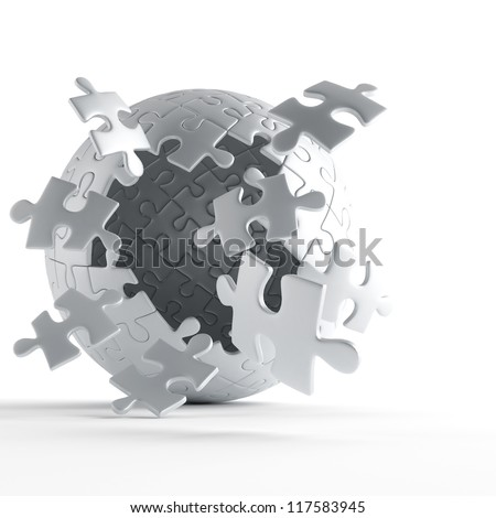 exploding ball of gray puzzle pieces on white background - stock photo