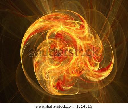 Exploding fireball - stock photo