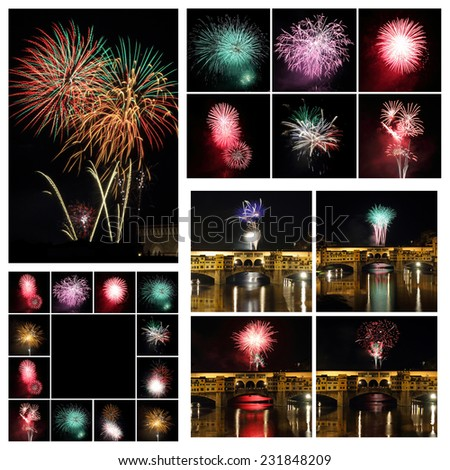 Exploding Fireworks collage, Images from Florence on San Giovanni feast, 24th of June, Italy - stock photo