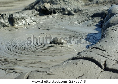 Exploding mud volcano in Azerbaijan - stock photo