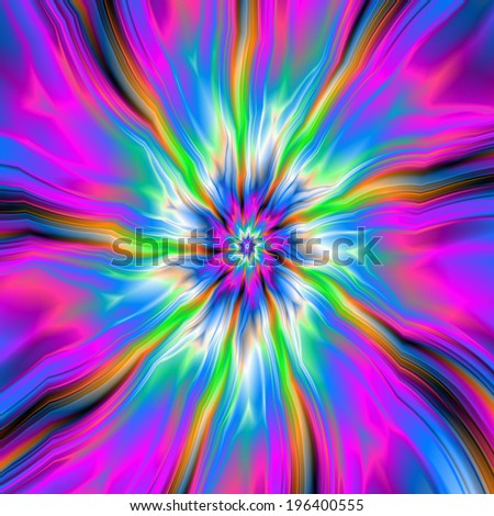 Exploding Palette of Blue and Pink / A digital abstract fractal image with an exploding palette of blue, pink, green, orange and white. - stock photo