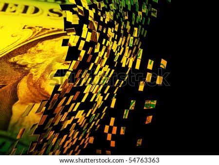 Exploding US dollar note (yellow overlay) - stock photo