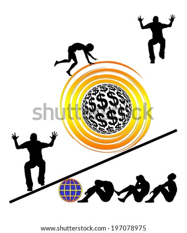 Exploitation. Modern slavery and blatant injustice through capitalism and globalization around the world - stock photo