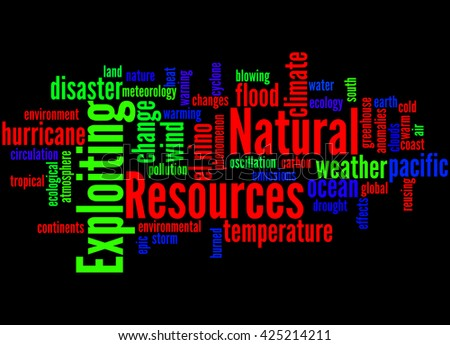 Exploiting Natural Resources, word cloud concept on black background.