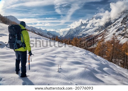 Exploration concept: a lonely hiker in the wilderness. Mont Blanc massif, Val Ferret, Courmayeur, Valle d'aosta, Italy.
