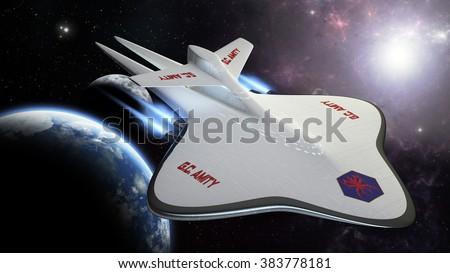 exploration concept spaceship 3D rendering amity - stock photo