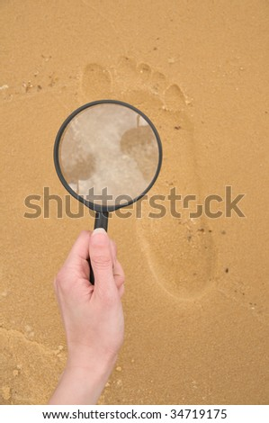 exploration footprint on the sand