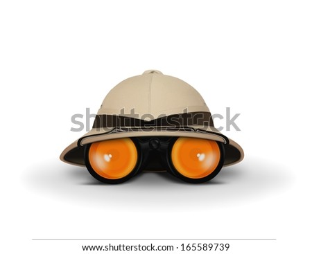 Explorer Hat and Binocular - stock photo