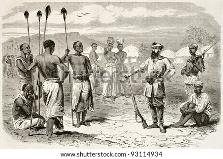 Explorer Samuel Baker among native Africans. Created by Neuville, published on Le Tour du Monde, Paris, 1867 - stock photo