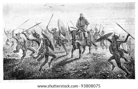 Explorer Samuel White Baker (British explorer) among native Africans. Created by Neuville, published on Travel to upper reaches of the Nile and exploration of its sources, Moscow, 1868 - stock photo