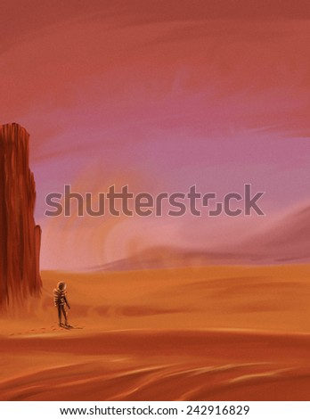 Explorer walking on Mars. A astronaut explorer walking on the surface of another planet, perhaps mars, the dunes are at the foreground, there is a light breeze blowing. - stock photo