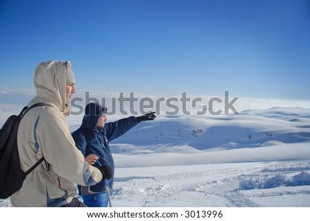 Explorers on a mountain top in Macedonia - stock photo