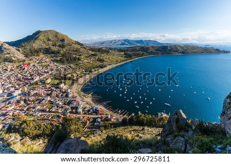Exploring Copacabana at Lake Titicaca  - stock photo