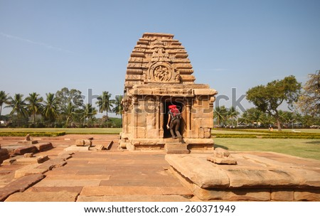 Exploring Pattadakal Temples in India...recognized as UNESCO world heritage site - stock photo
