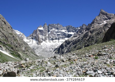 Exploring the French Alps in Summer - stock photo