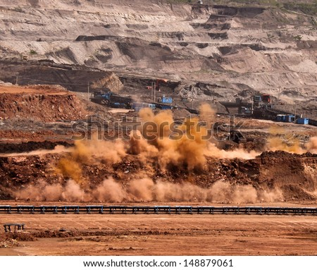 Explosion blast in a mine in northern Thailand - stock photo
