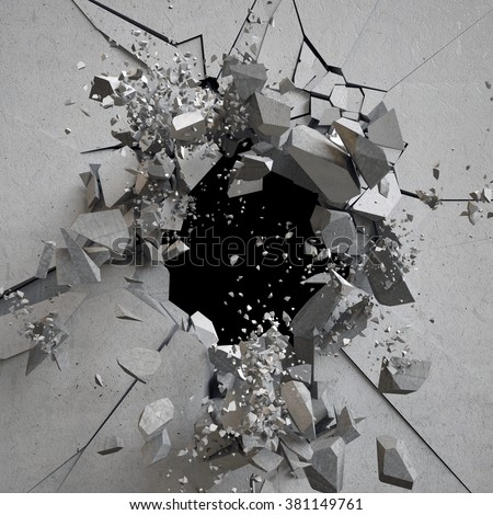 explosion, cracked concrete wall, bullet hole, destruction, abstract 3d background