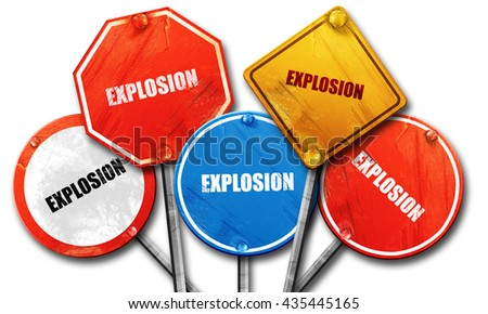 explosion, 3D rendering, street signs - stock photo