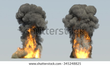 Explosion fire smoke - stock photo
