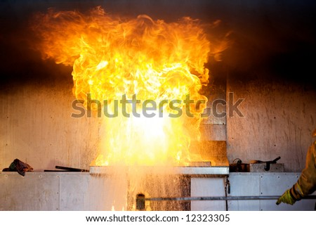 Explosion in a kitchen fire - stock photo