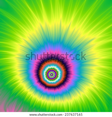 Explosion in Green and Yellow / An abstract fractal image with an explosive cartoon design in pink, blue,yellow, turquoise and green. - stock photo
