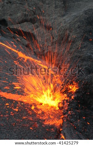 Explosion in the Erta Ale Lava lake, Ethiopia - stock photo