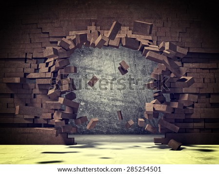 explosion of brick 3d wall - stock photo