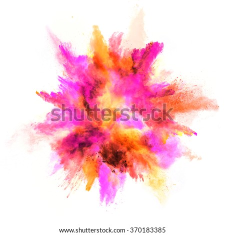 Explosion of colored powder, isolated on white background - stock photo