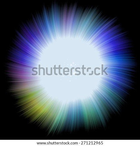 Explosion of energy, colorful twirl sphere in background design illustration. Bright abstract background with shining dust - stock photo