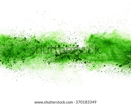 Explosion of green powder, isolated on white background - stock photo