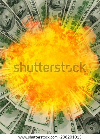 Explosion of money  - stock photo