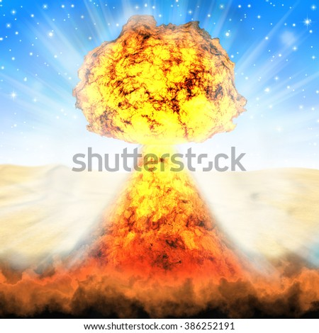 Explosion of nuclear bomb, nuclear war,  nuclear explosion in desert, bright explosion on a background of blue sky. - stock photo