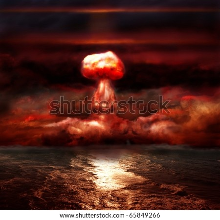 explosion of nuclear bomb over sea - stock photo