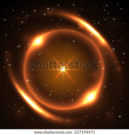 Explosion of the sun in space, illustration.