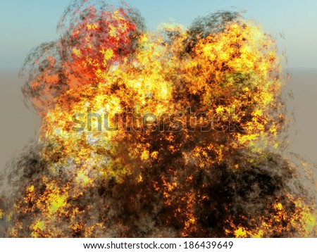 explosion on blue sky background - stock photo