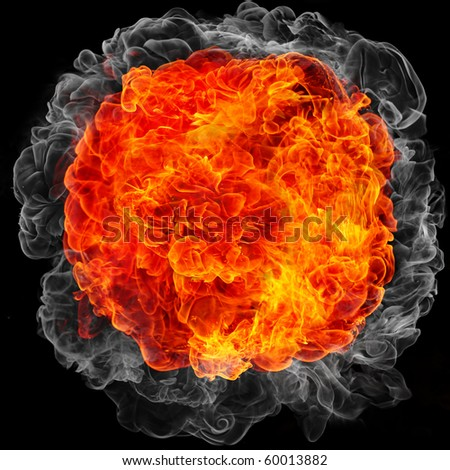 explosion with fire and smoke - stock photo